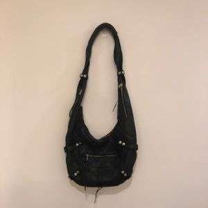 Andrew Marc Motorcycle Bag, Black Leather